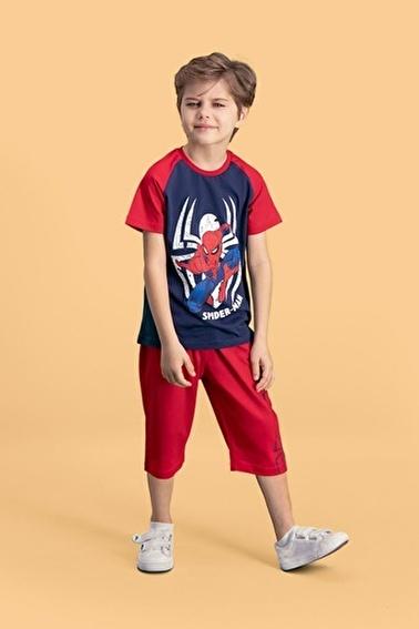 Spider-Man Spider Man Lisanslı Krem Erkek Çocuk Kapri Takım Lacivert